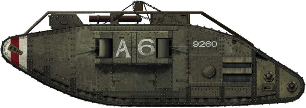 A Female Tank Mark V that saw action during the 100 Day Offensive