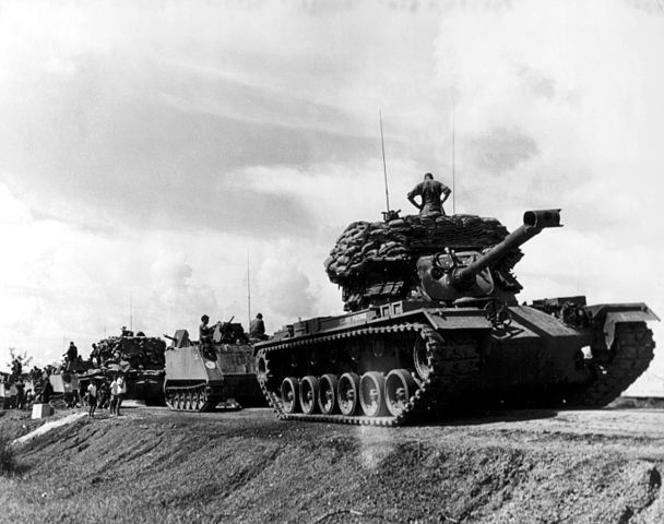 Convoy with ACAVs led by a M48 in Vietnam