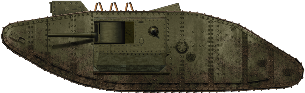 This is a Male Mark III tank. They were armed with the long barrelled 6pdr gun but this was later replaced with the short barrelled 6pdr gun and they were also later fitted with the new style sponsons