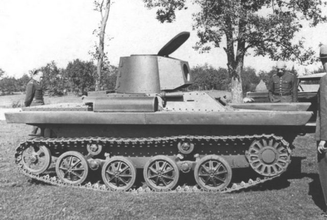The PZInz 130 amphibious tank. This vehicle had the same turret as the one shown on the fictional PZInz 126.