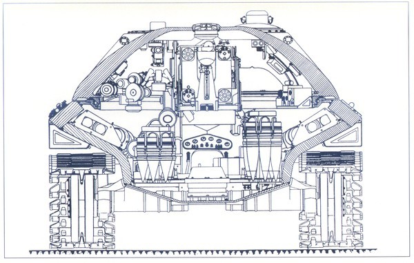 Rear cutaway view of the IS-7. Note the thicknesses of the armor on the turret and hull sides.