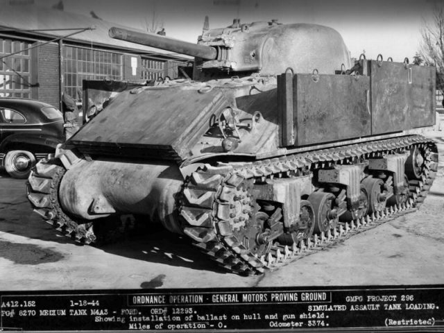The M4A3 test tank with ballast fitted on 18th January 1944.