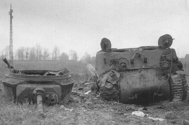This Jumbo of 743rd Tank Battalion was knocked out on 22nd November 1944 near Lohn, Germany.