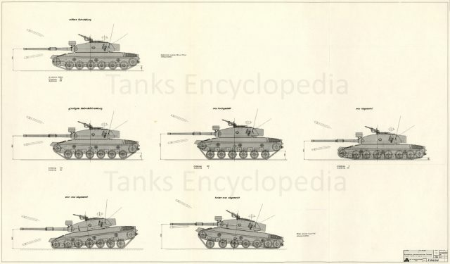 A drawing of the Panzer 74 with the Variante H hull, showing the expected capabilities of the hydropneumatic suspension.