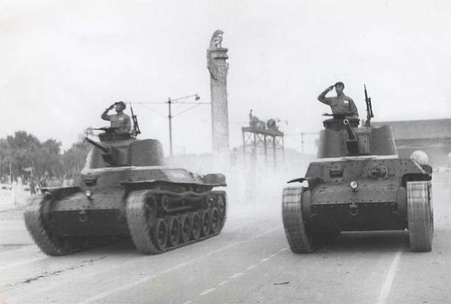 Pair of Chi-Ha Shinhoto tanks on parade, Tiananmen Square, 1st October 1949