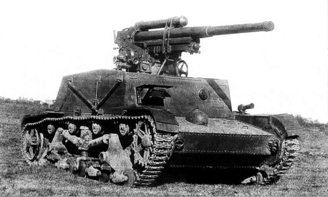 The SU-6 prototype. Notice the collapsible sides with supporting and levering arms under the sides. This machine could have been a potent weapon.