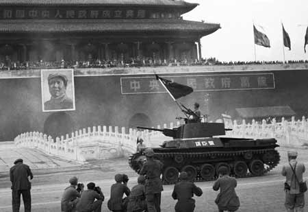Gongchen Tank leading the victory parade in Tiananmen Square, 1st October 1949