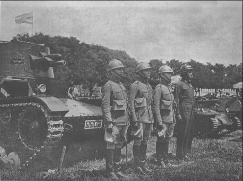 Thai tank crew with the British Vickers Mark E