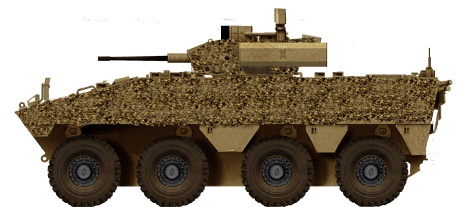VBCI CTA-40 in desert livery with thermal camouflage