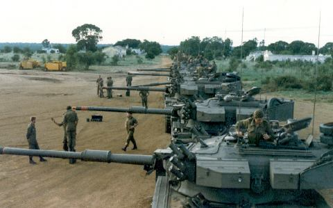Olifant Mk1 from F-Squadron preparing for Ops Hooper, Angola 1987