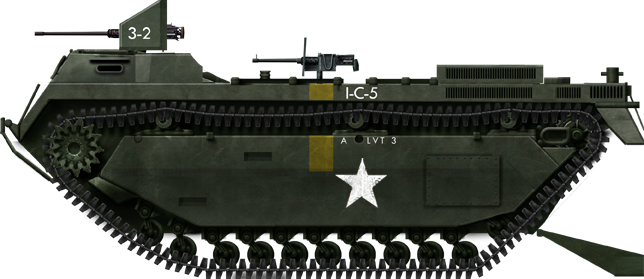 A regular US Army LVT-3 Bushmaster, with its ramp down, in 1944.