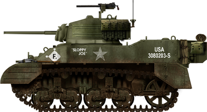 Sloppy Joe, late M5A1 from the 97th Cavalry Reconnaissance Squadron, Germany, January 1945.