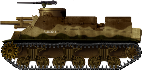 Standardized M7 based on the M4 Sherman chassis, Tunisia, January 1943.
