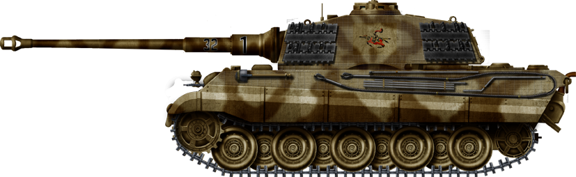 Panzer VI Königstiger with early Krupp turret with the curved front meant for the Porsche design