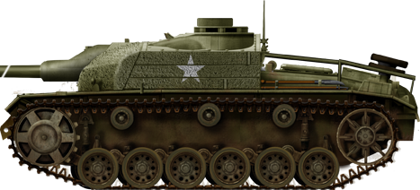 StuG III Ausf.G with concrete armor in American colors.