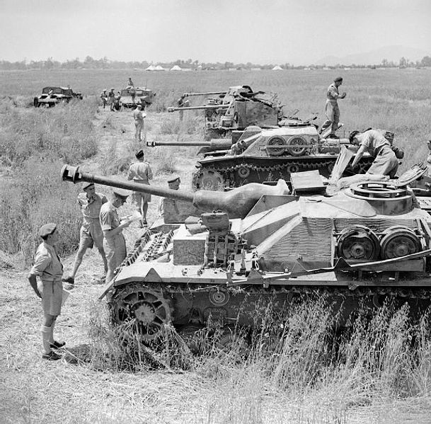 Captured StuGs in Italy