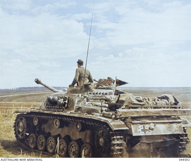 Color photo of a StuG III in Russia