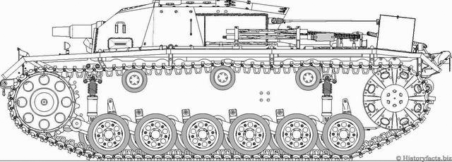 Technical drawing of the StuG III Ausf.A